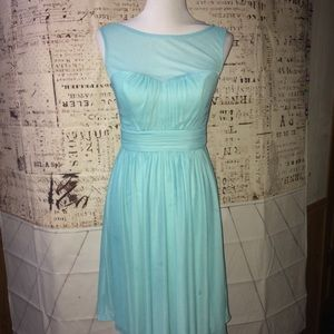Davids Bridal Aqua Sz 4 Brides Maid Dress